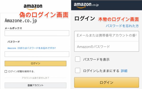 Amazonのログイン画面(偽サイトと公式サイトの比較)